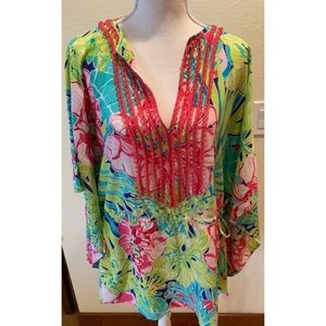 Lily Pulitzer Beaded Silk Beach Tunic, Size S/M